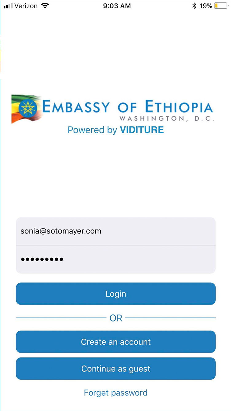 Mobile App for Embassy of Ethiopia